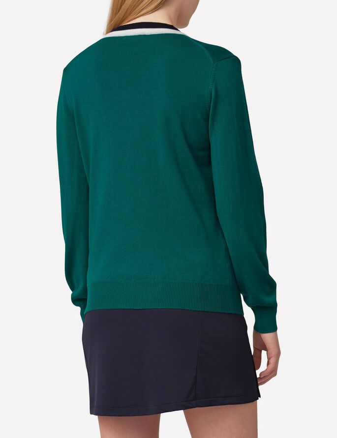 AMY TRUE MERINO KNITTED PULLOVER, Dk Green/Blue, large