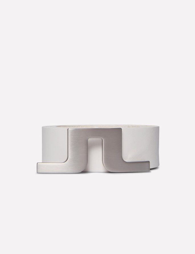 BRIDGER WHITE LEATHER BELT, White, large