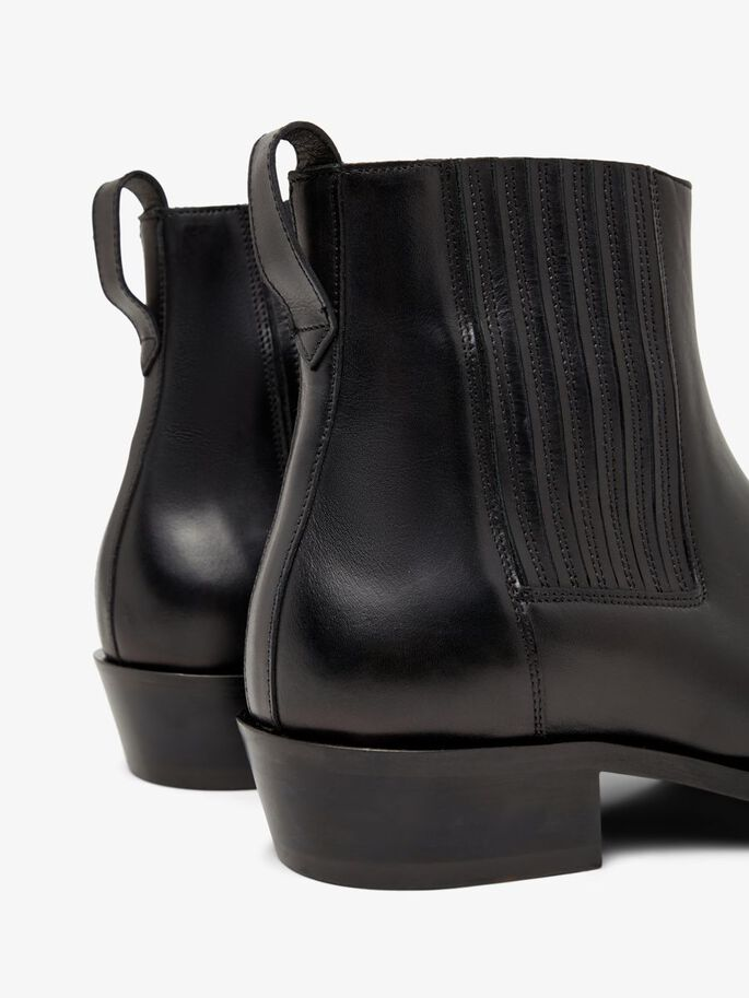 LEATHER WESTERN BOOTS, Black, large