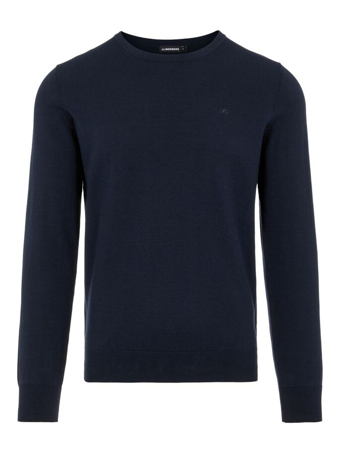 NATE CREW NECK SWEATER, JL Navy, large