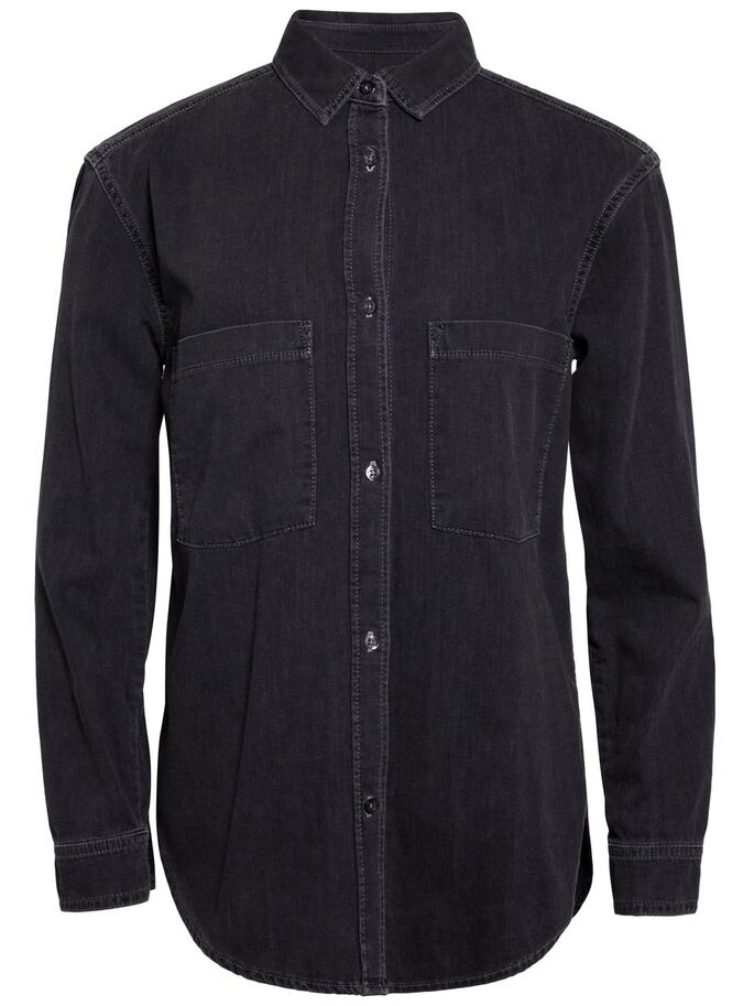 TRAN SMOKE DENIM SHIRT, Black, large