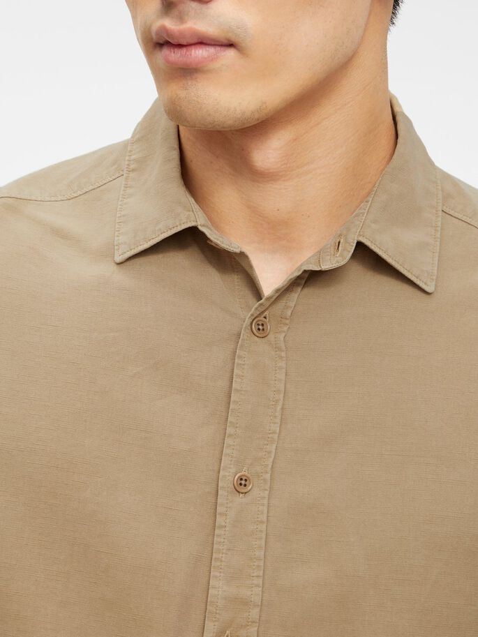 TENCEL SLUB TEXTURE SLIM SHIRT, Wood Brown, large