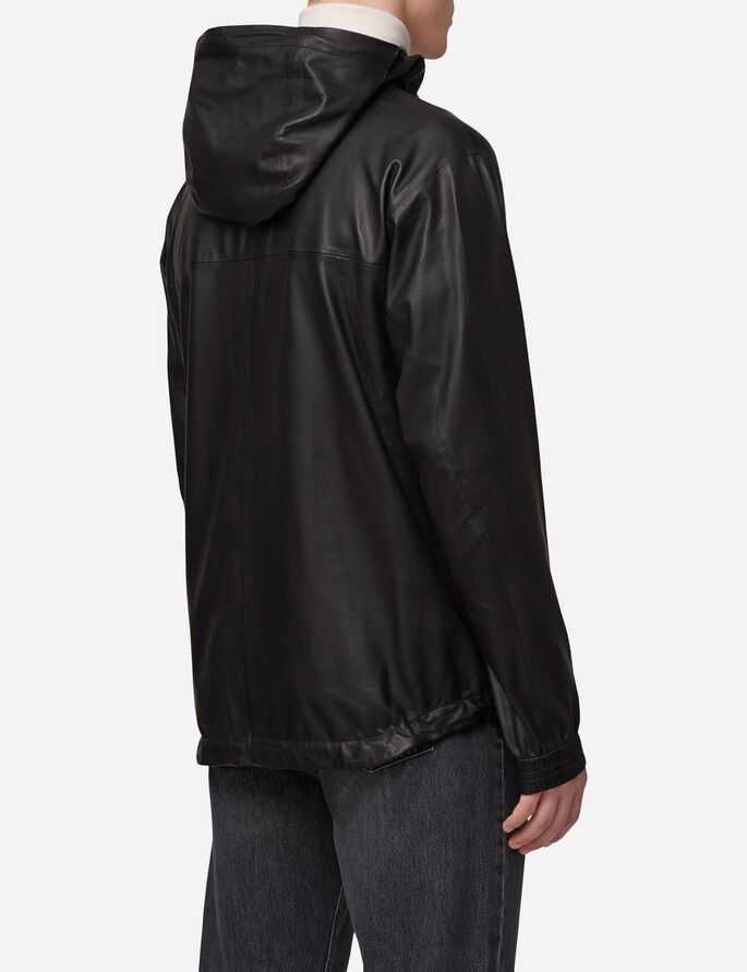 BROKEN 76 LIGHT LEATHER ANORAK, Black, large