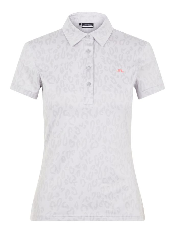 ALAYA JACQUARD POLO SHIRT, ANIMAL GREY WHITE, large