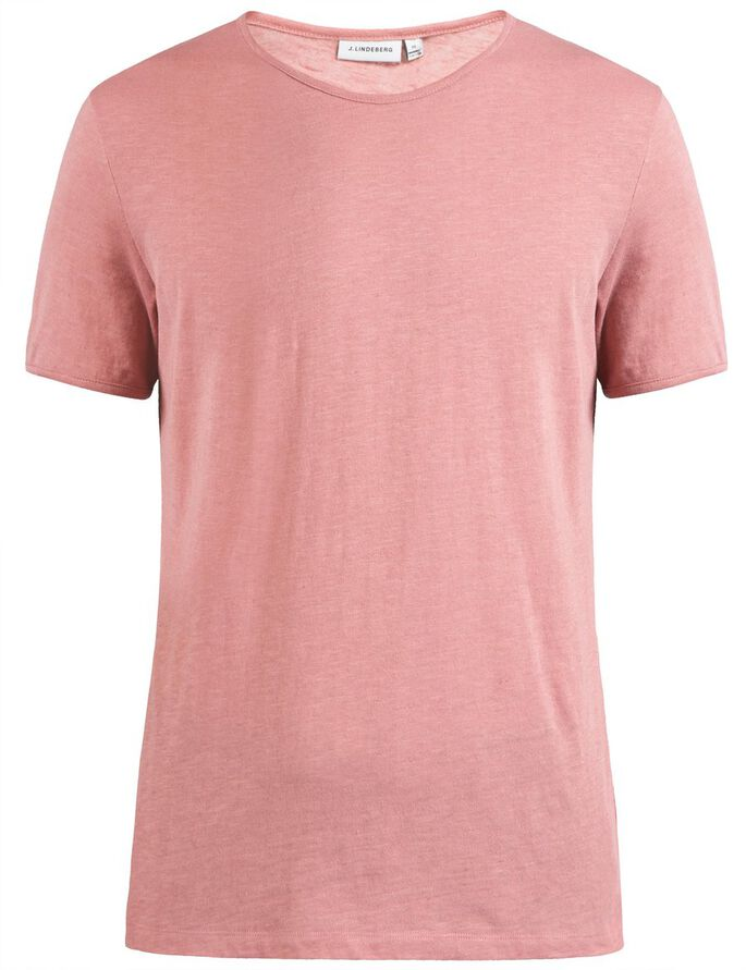 SEV SLIT LINEN MELANGE T-SHIRT, Warm Dust Pink, large