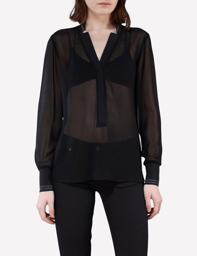 NIKEY CHIFFON BLOUSE, Black, large