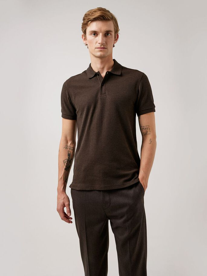 TROY COTTON POLO SHIRT, Umber Brown, large