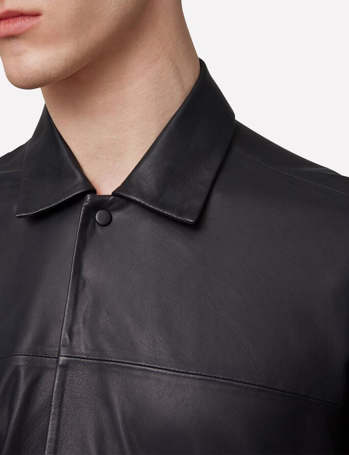 JASON LIGHT LEATHER SHIRT, Antrasit, large
