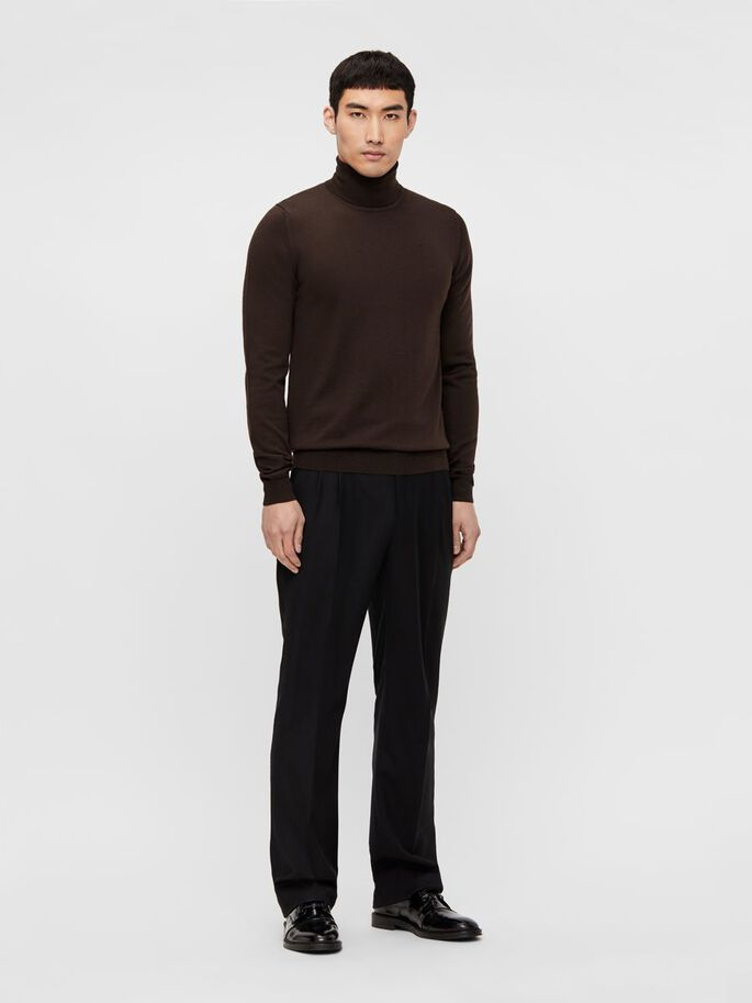 LYD MERINO TURTLENECK, Dark Brown, large