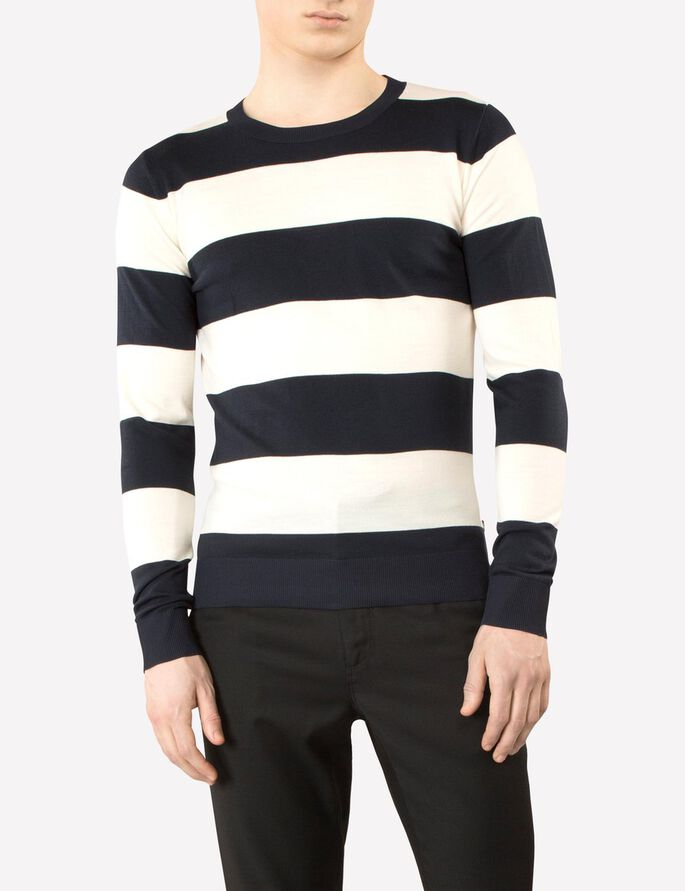 AUSTIN BLOCK STRIPE KNITTED PULLOVER, Navy, large