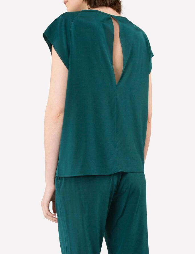 ELLEN DRAPY SILK BLOUSE, Deep Green, large