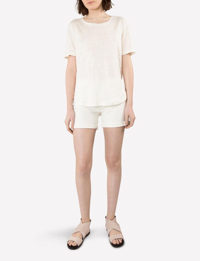 JILL LINEN JERSEY T-SHIRT, Off White, large