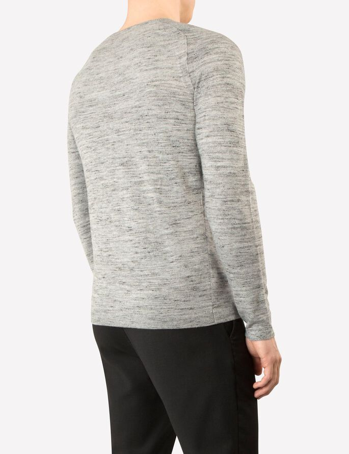FREDRIC DYED KNIT KNITTED PULLOVER, Stone Grey Melange, large