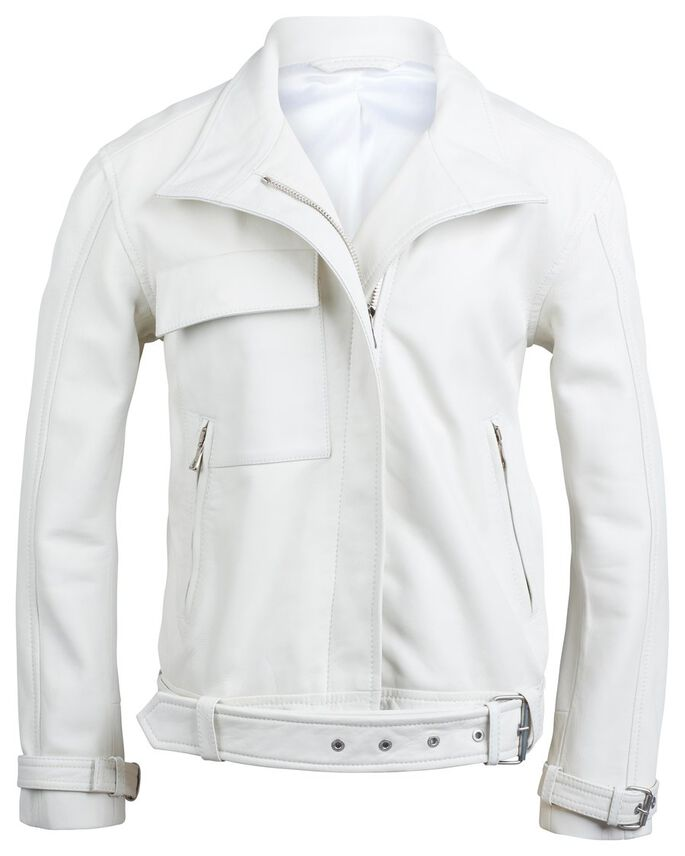 BRAVE 80'S LEATHER JACKET, Off White, large