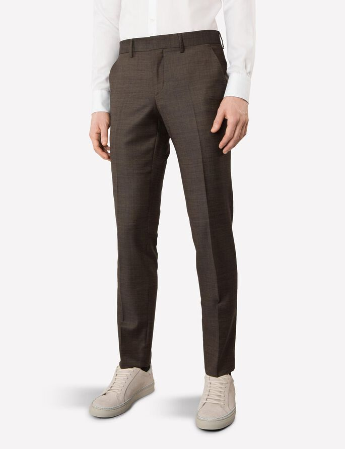 PAULIE 140S PLATINUM SUIT TROUSERS, Mud Brown, large