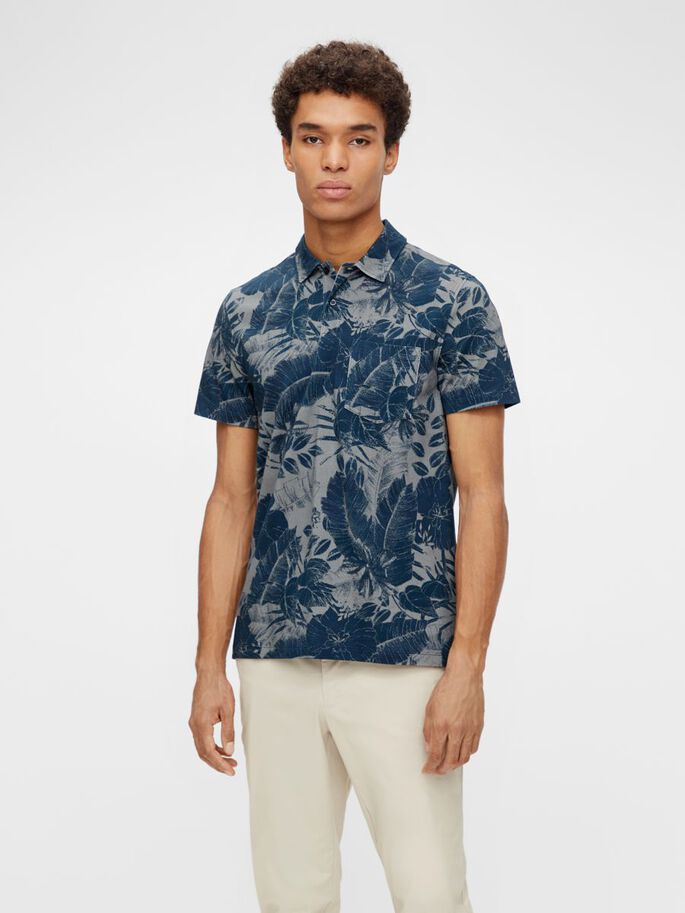 BRAND PRINTED POLO SHIRT, JL Navy, large