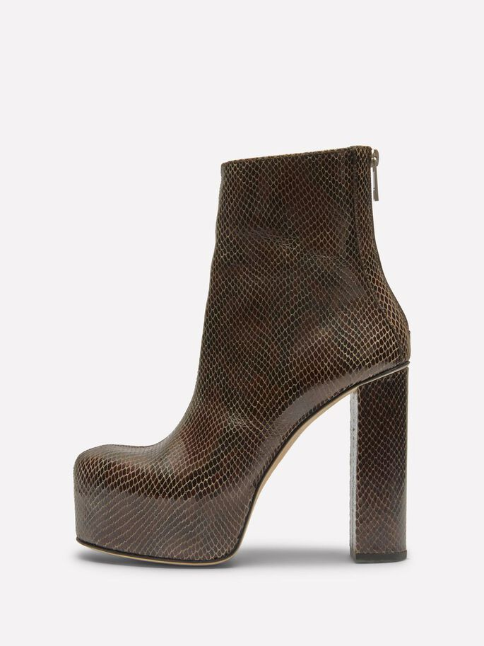 PLATEAU PATENT SNAKE BOOTS, Brown Snake, large