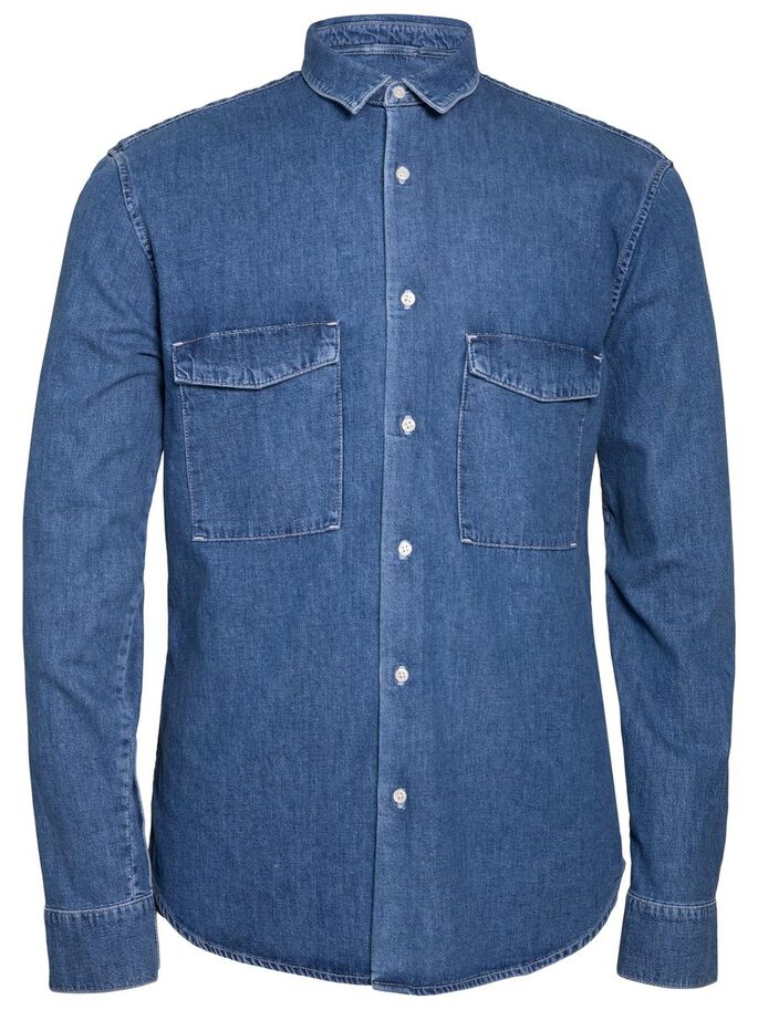 DAVID GRAIN DENIM SHIRT, Mid Blue, large