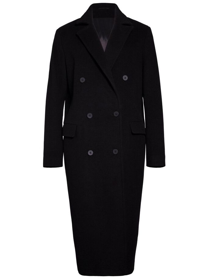 AMARIS LAINE BROSSÉE MANTEAU, Black, large