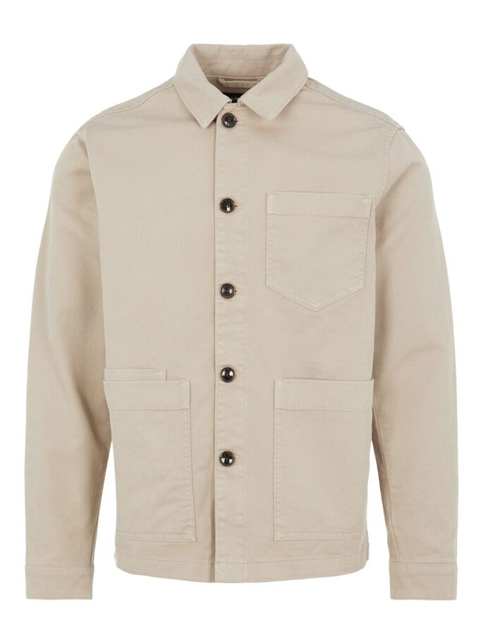 TWILL WORK OVERSHIRT, Oyster Brown, large