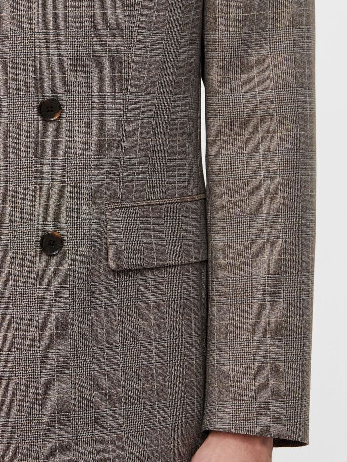 DORIAN CHECKED BLAZER, Wood Brown, large
