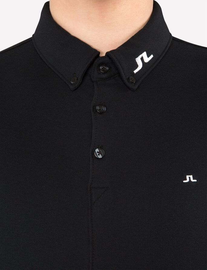 RUBI BUTTON-DOWN REG JL TOUR PIQUE POLO SHIRT, Black, large
