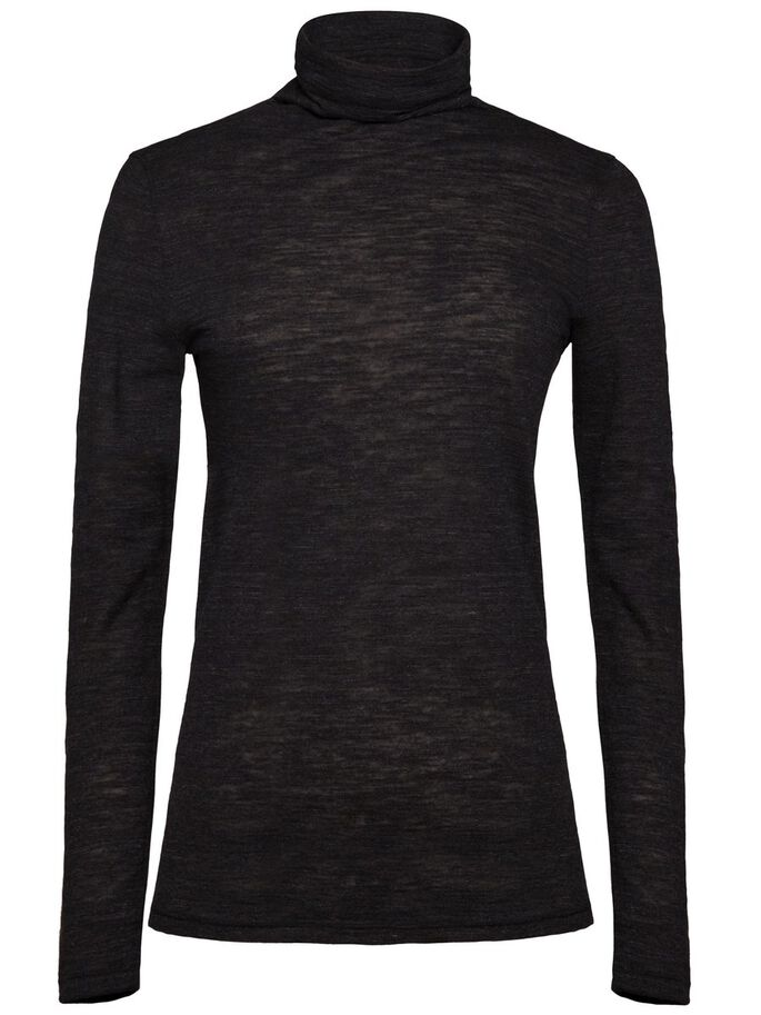RAMONA WOOL JERSEY TURTLENECK, Black Mel, large