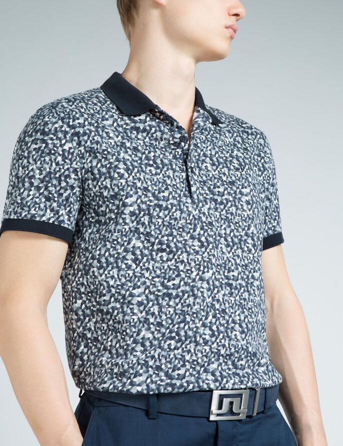 KALLE SLIM SUBLIME PIQUE POLO, Mosaic Navy, large