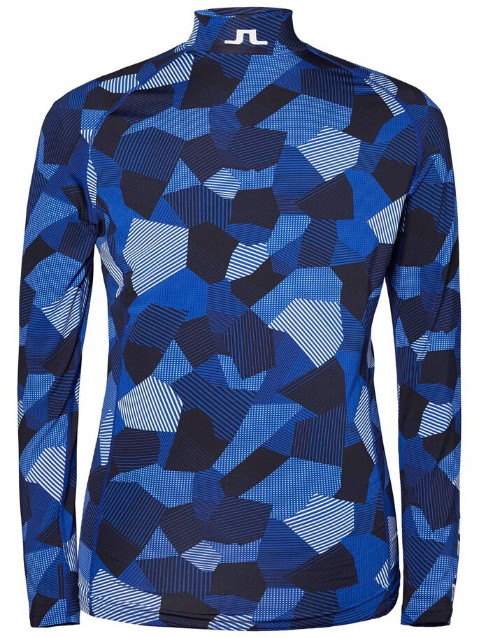AELLO PRINTED SLIM SOFT COMPRESSION SPORTS TOP, Blue Eclipse, large