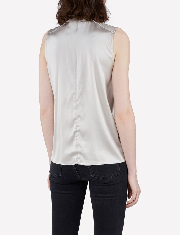 HEATHER SHINY DRAPE SLEEVELESS BLOUSE, Lt Grey/Beige, large