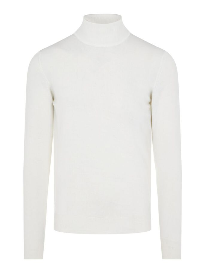 LYD MERINO COL ROULÉ, White, large
