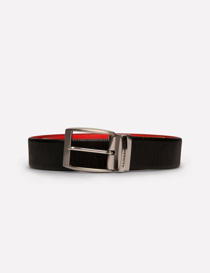 ASHER REVERSED STRUCTURE LEATHER BÆLTE, Racing Red, large