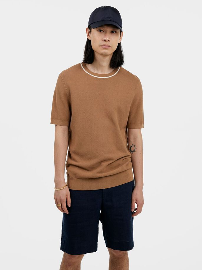 CAIN KNITTED T-SHIRT, Tiger's Eye, large