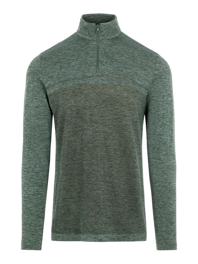 JOEY SEAMLESS MID LAYER PULLOVER, Thyme Green Melange, large