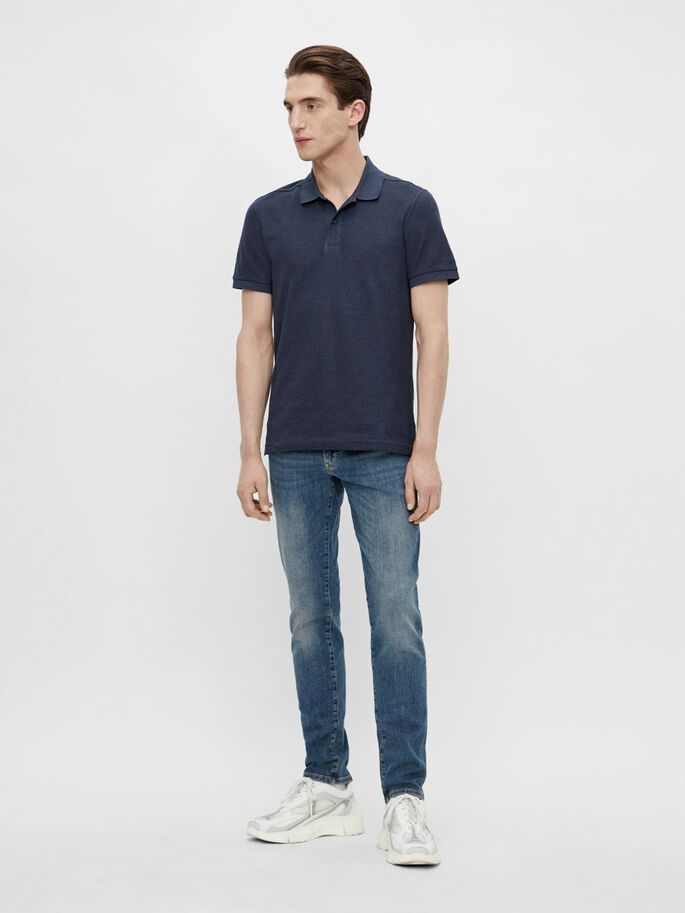 TROY KATOENEN POLO, Midnight Blue Melange, large