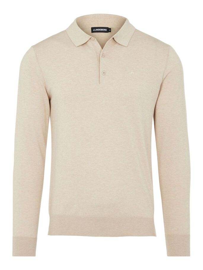 ROWAN COTTON SILK POLO SHIRT, Sand Grey, large