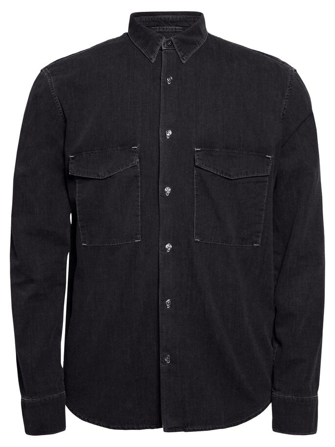 DAVID CLASSIC SMOKE DENIM SHIRT, Dk Grey, large