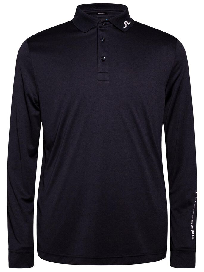 TOUR TECH LONG-SLEEVED TX JERSEY POLO SHIRT, Navy melange, large